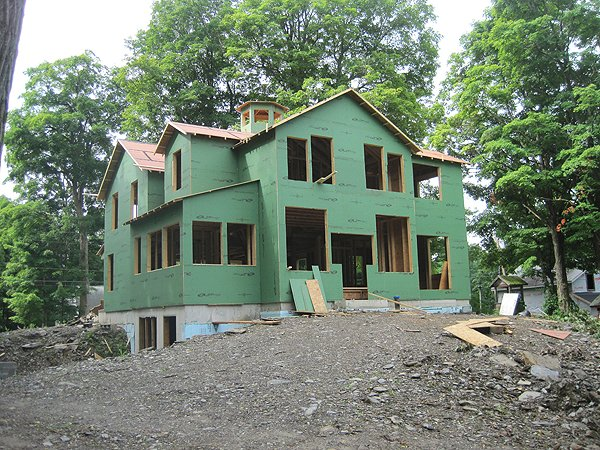 Hudson valley extreme makeover construction serge young for Exterior sheathing