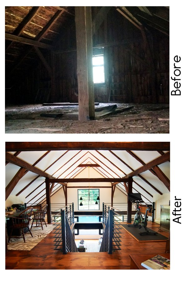 Barn Interior Before and After